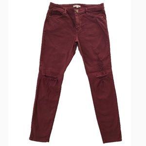 Distressed Maroon Skinny Jeans